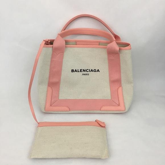 0eca635a1ee Balenciaga Bags | Tote Bag Cabas Pink Canvas Leather Nwt | Poshmark